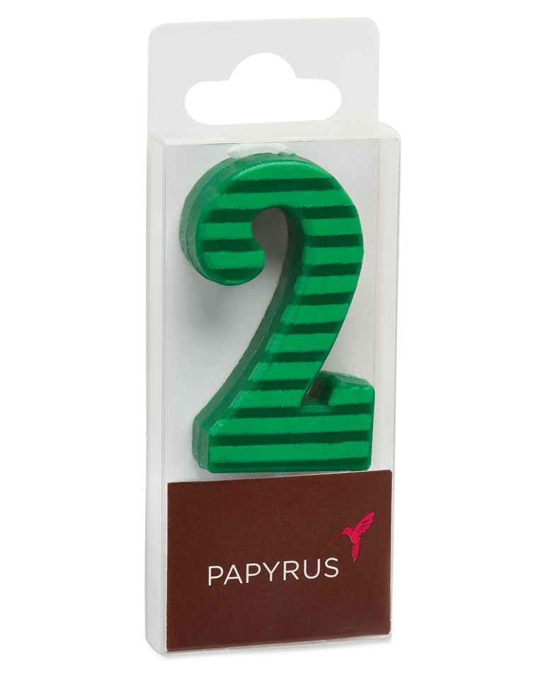 Green Stripes Number 2 Birthday Candle, 1-Count