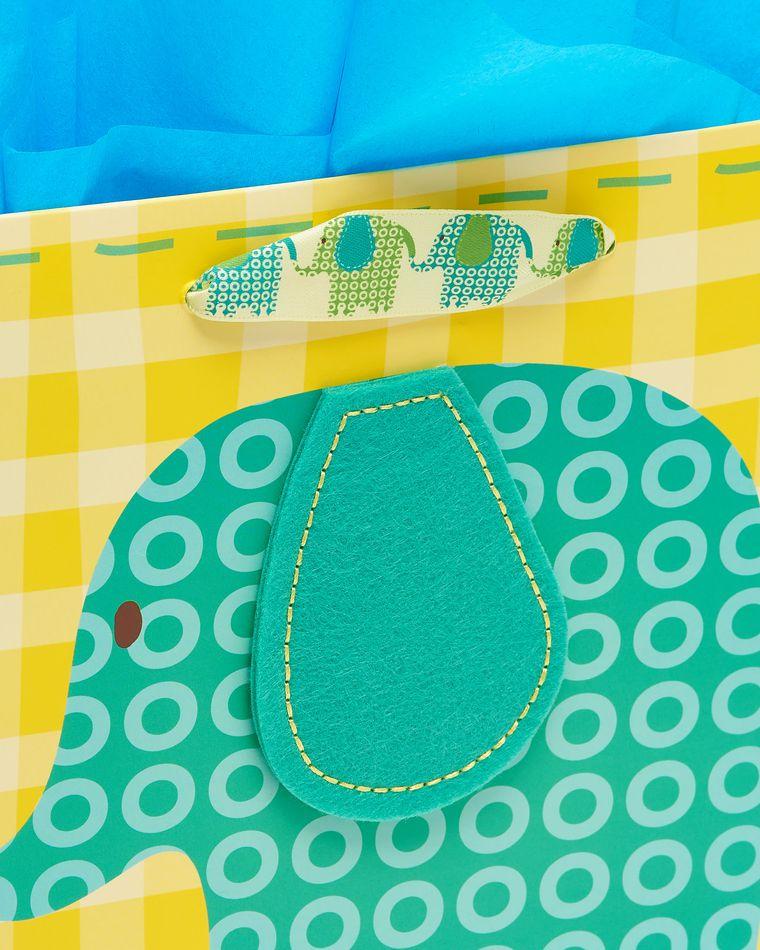 Elephant Medium Baby Gift Bag with Tissue Paper Bundle, 1 Bag, 8-Sheets