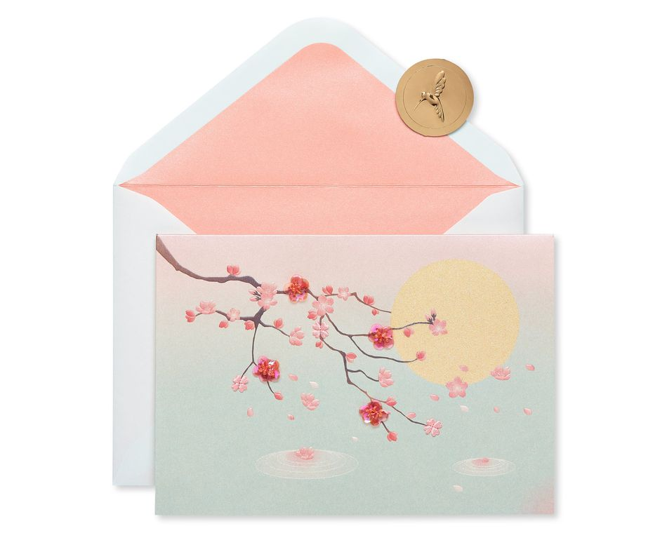 Cherry Blossoms Thinking of You Blank Greeting Card