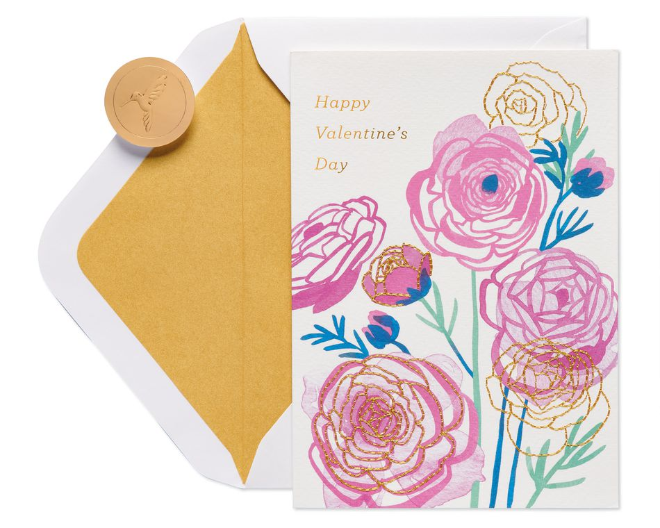 Stitched Flowers Valentine's Day Greeting Card