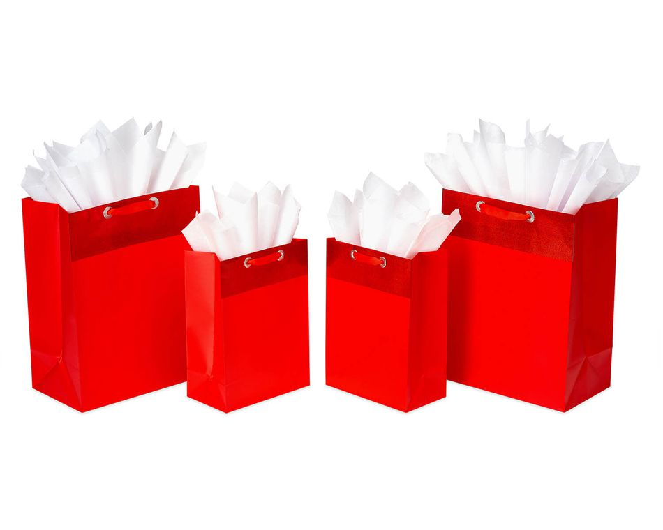 Red, Gift Bag and Tissue Paper Bundle, 4-Count