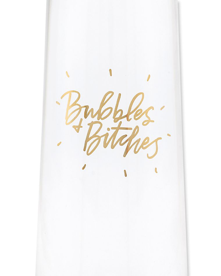 bubbles & bitches champagne glasses (set of 2)