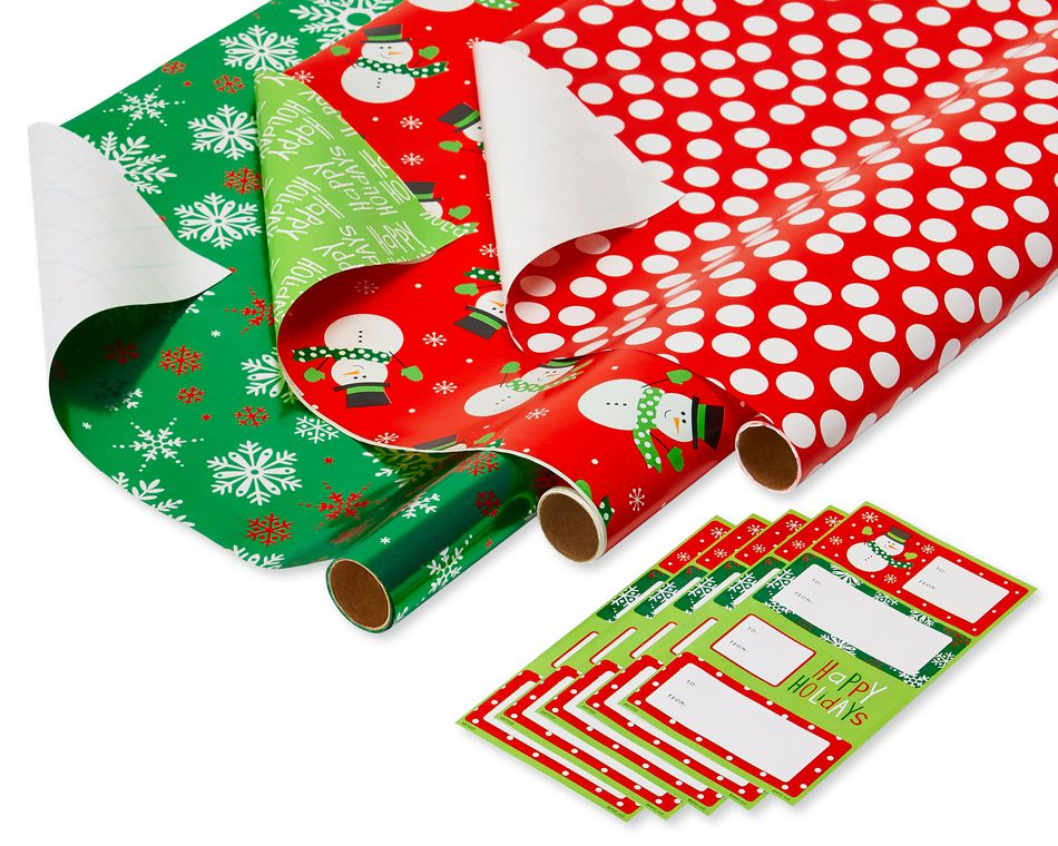 Christmas Wrapping Paper and Gift Tag Variety Set, 69-Count