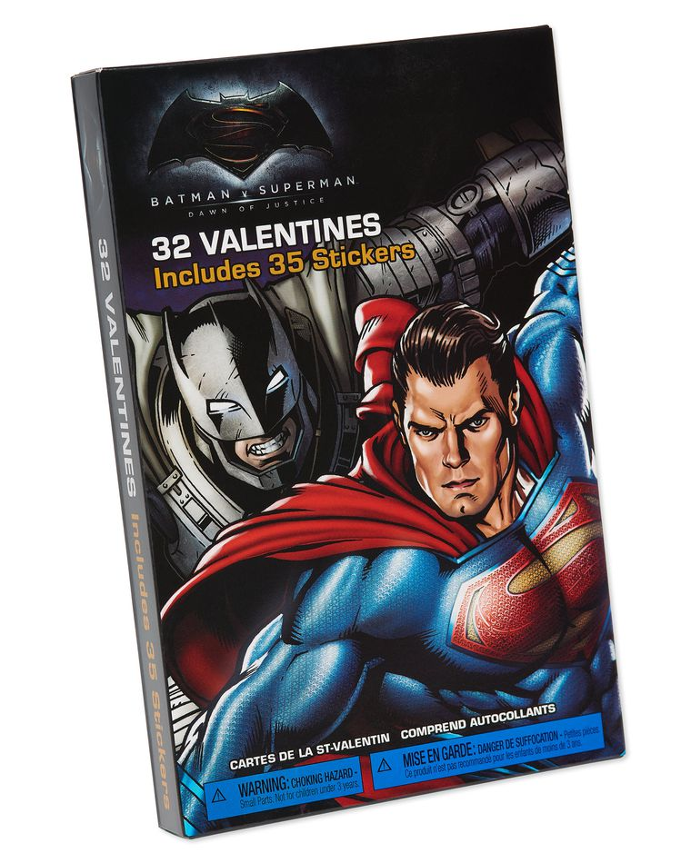 Batman v. Superman Valentine's Day Exchange Cards with Stickers, 32-Count