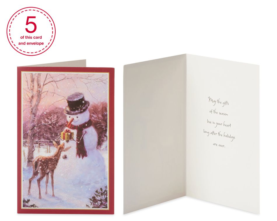 Traditional Assorted Christmas Boxed Cards with White Envelopes, 20-Count