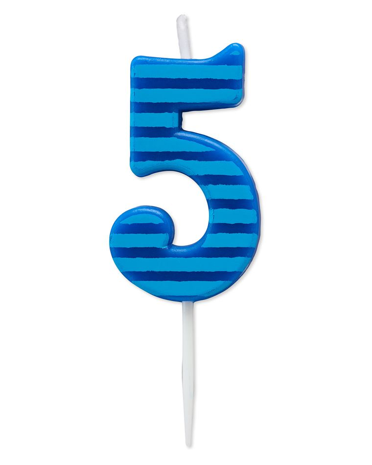 Blue Stripes Number 5 Birthday Candle, 1-Count