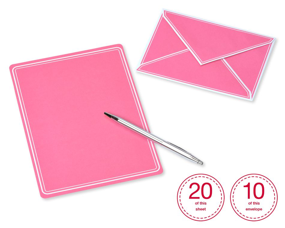 Pastel Stationery Sheets and Colored Envelopes, 80-Count