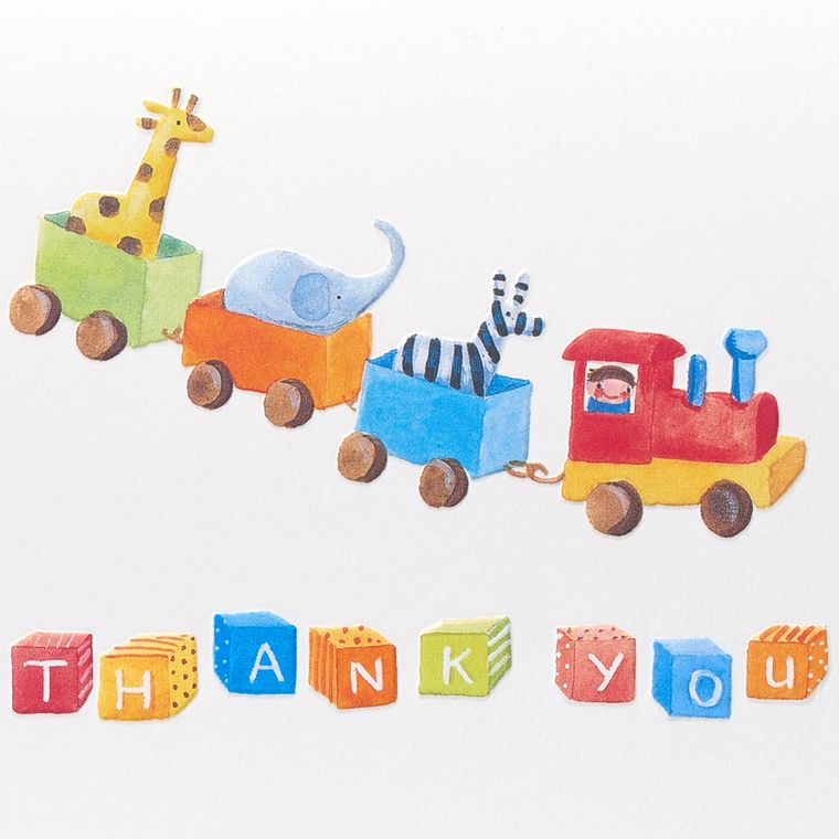 Toy Train Thank You Boxed Blank Note Cards, 12-Count