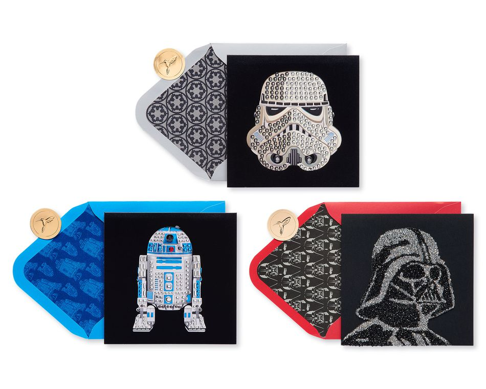 Star Wars Characters Birthday Greeting Card Bundle, 3-Count