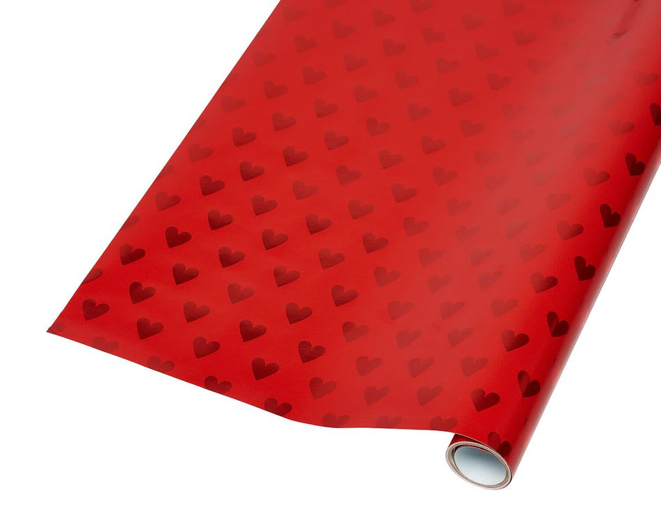 Red Foil Hearts Wrapping Paper, 20 Total Sq. Ft.