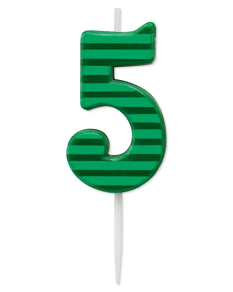 Green Stripes Number 5 Birthday Candle, 1-Count