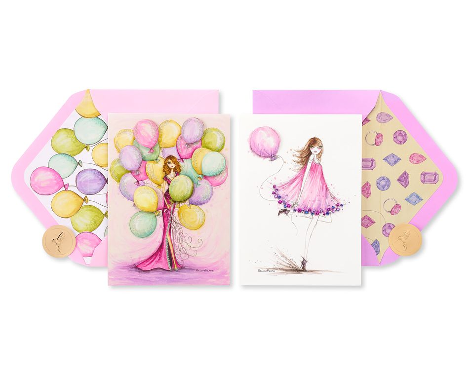 Pink Balloons Birthday Greeting Card Bundle for Her, 2-Count
