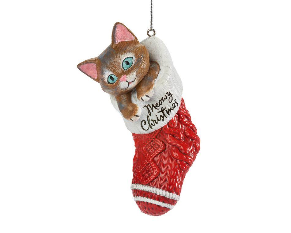 Cat Stocking Christmas Ornament
