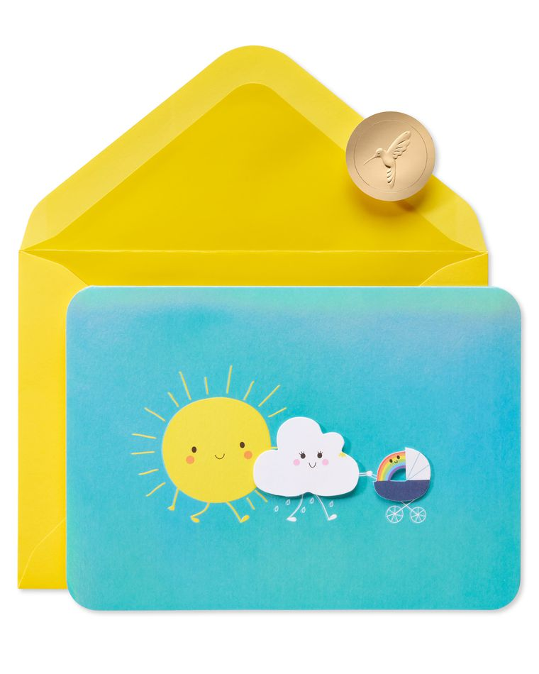 Sun And Cloud Stroller New Baby Greeting Card