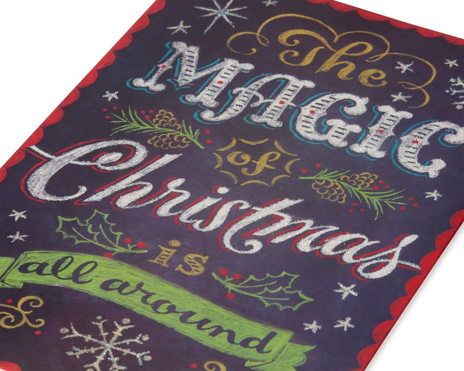 Deluxe Chalkboard Christmas Boxed Cards and Red Envelopes, 14-Count