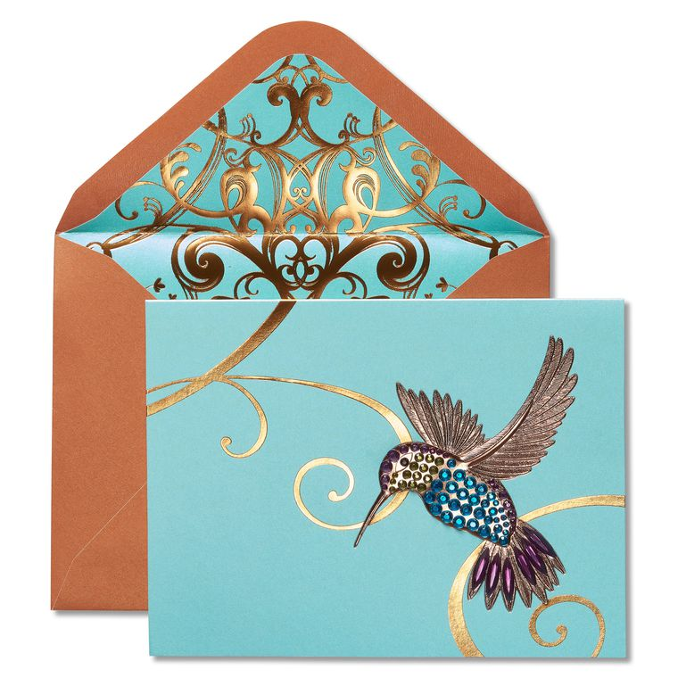 Gem Hummingbird Birthday Greeting Card