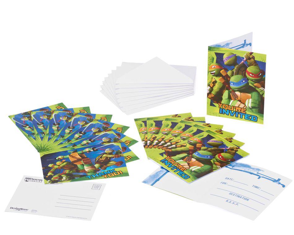 teenage mutant ninja turtles invite and thank you combo pack 8 ct
