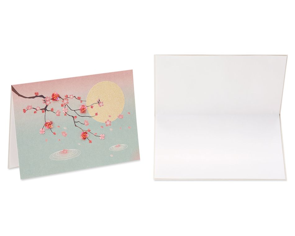 Cherry Blossoms Blank Greeting Card Bundle, 2-Count
