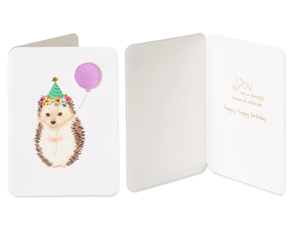 Hedgehog and Elephant Birthday Greeting Card Bundle for Kids, 2-Count