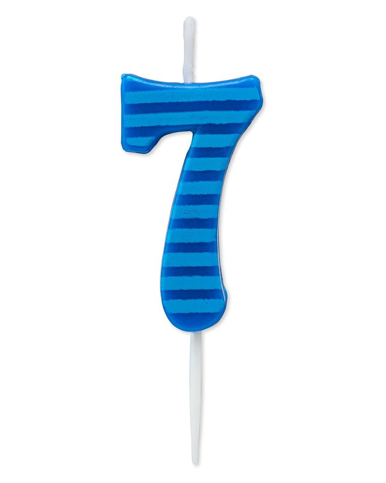 Blue Stripes Number 7 Birthday Candle, 1-Count