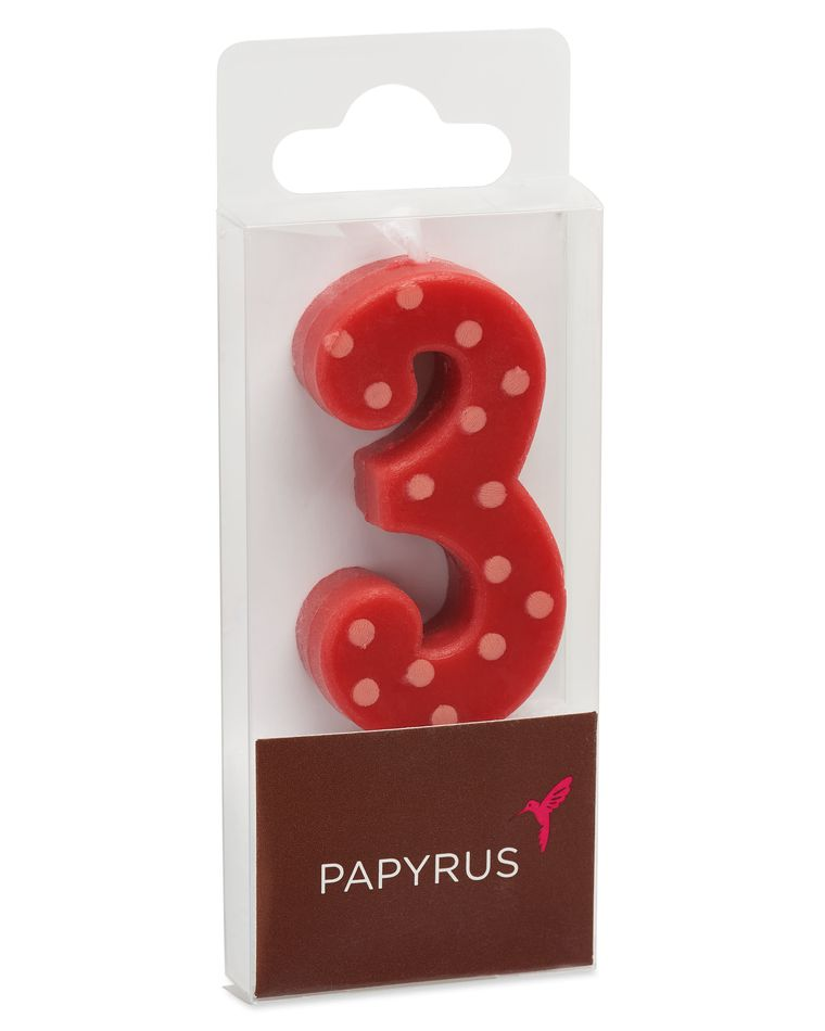 Red Polka Dots Number 3 Birthday Candle, 1-Count