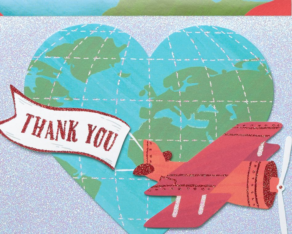 Globe with Plane Handmade Thank You Boxed Blank Note Cards with Glitter, 8-Count