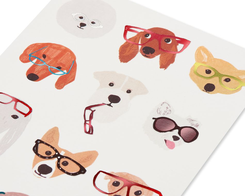 Dog with Glasses Blank Friendship Greeting Card