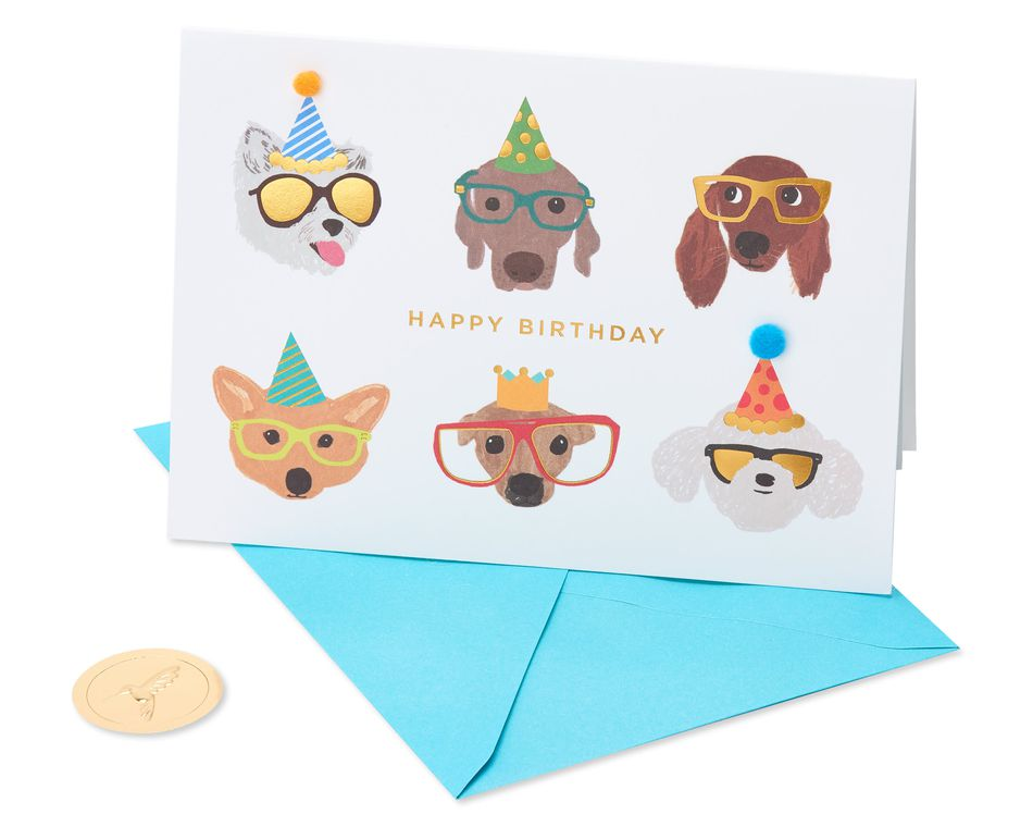Dogs with Glasses Birthday Greeting Card