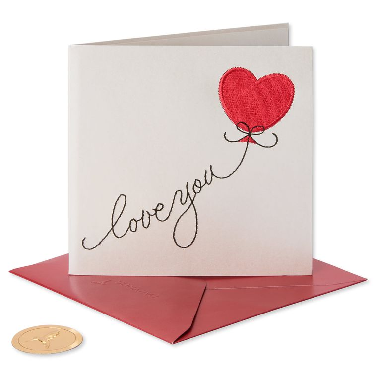 Heart Shaped Balloon Valentine's Day Greeting Card