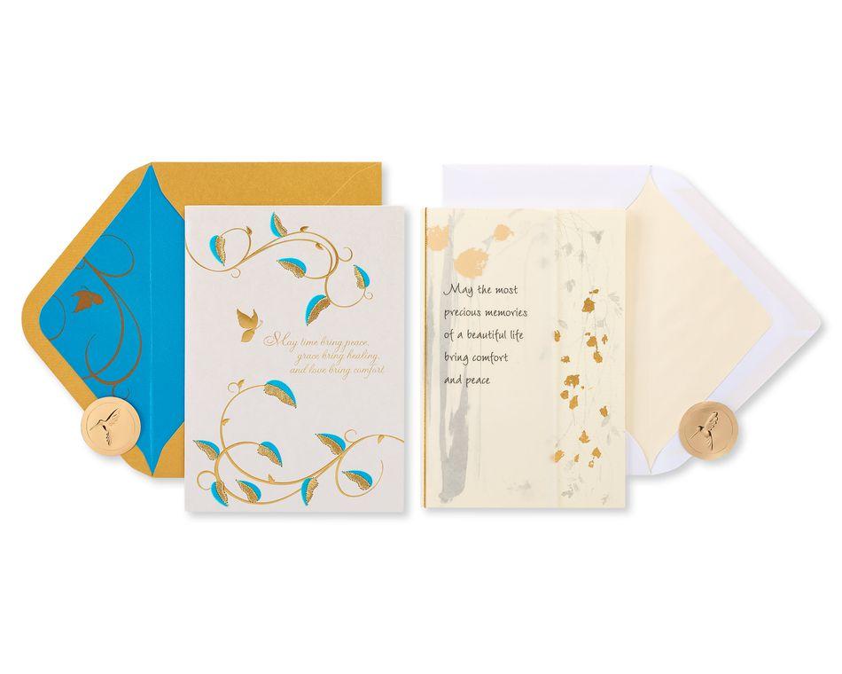 Gold Glitter Sympathy Greeting Card Bundle, 2-Count