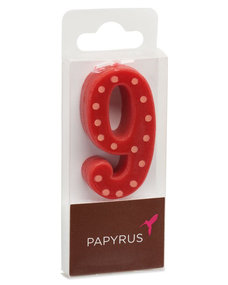 Red Polka Dots Number 9 Birthday Candle, 1-Count