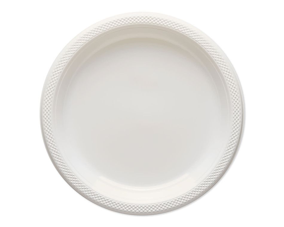 white plastic dinner plates 20 ct