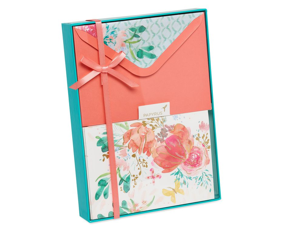 Watercolor Floral Boxed Blank Note Cards, 10-Count