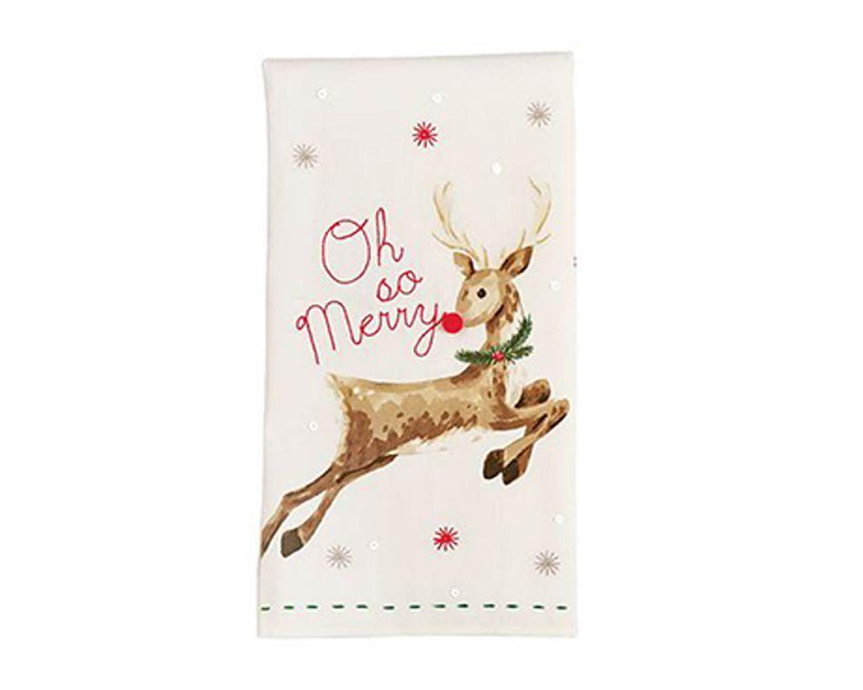 Mud Pie Holiday Reindeer Sequin Towel