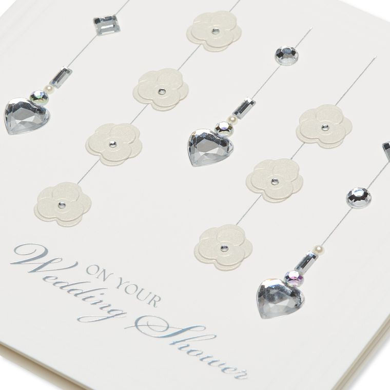 Heart Crystals And Flowers Wedding Greeting Card