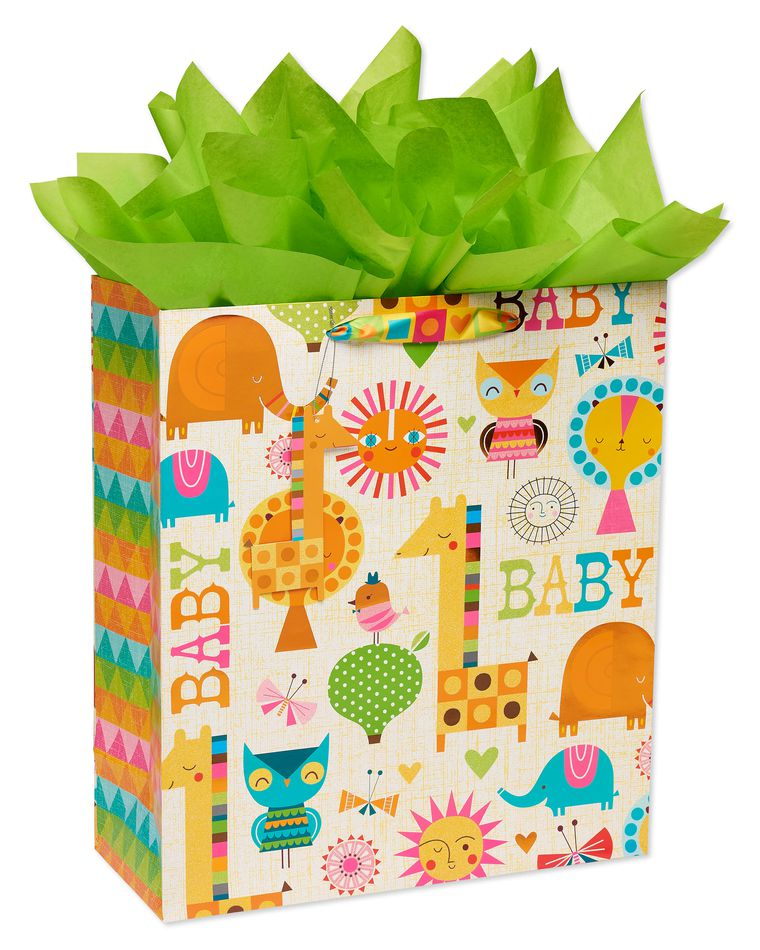 Modern Baby Jumbo Gift Bag with Retro Green Tissue Paper, 1 Gift Bag and 8 Sheets of Tissue Paper