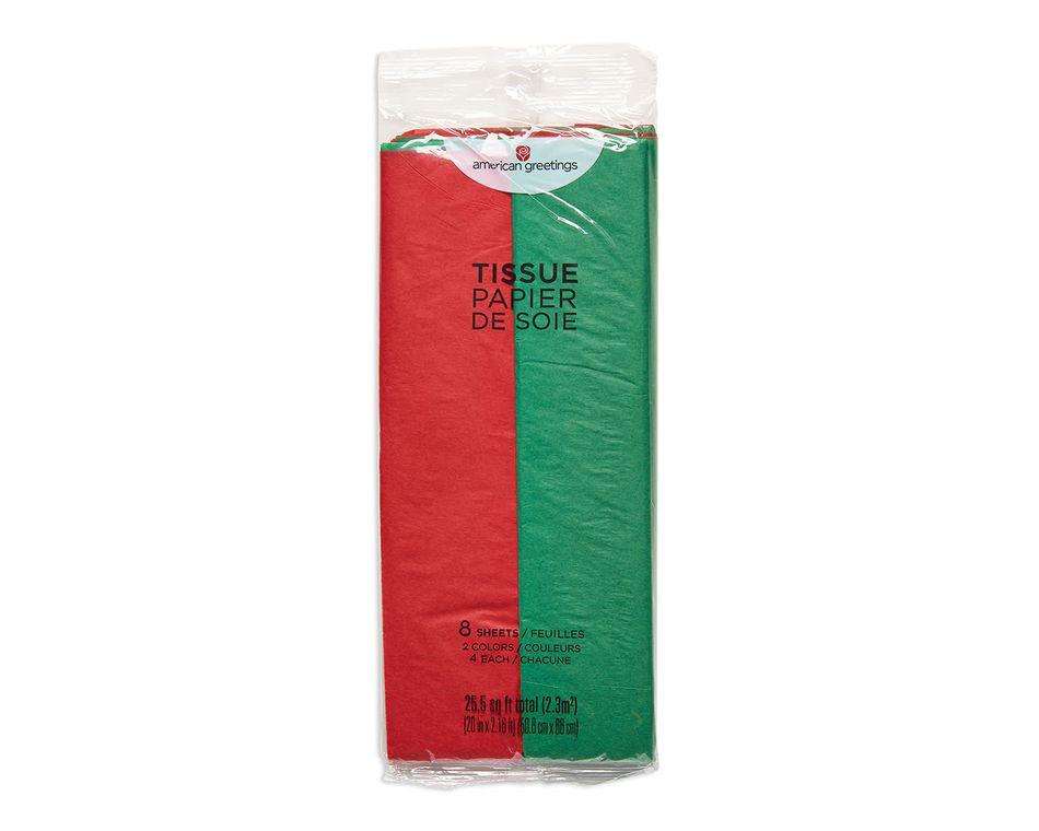 bright red and green tissue paper 8 sheets
