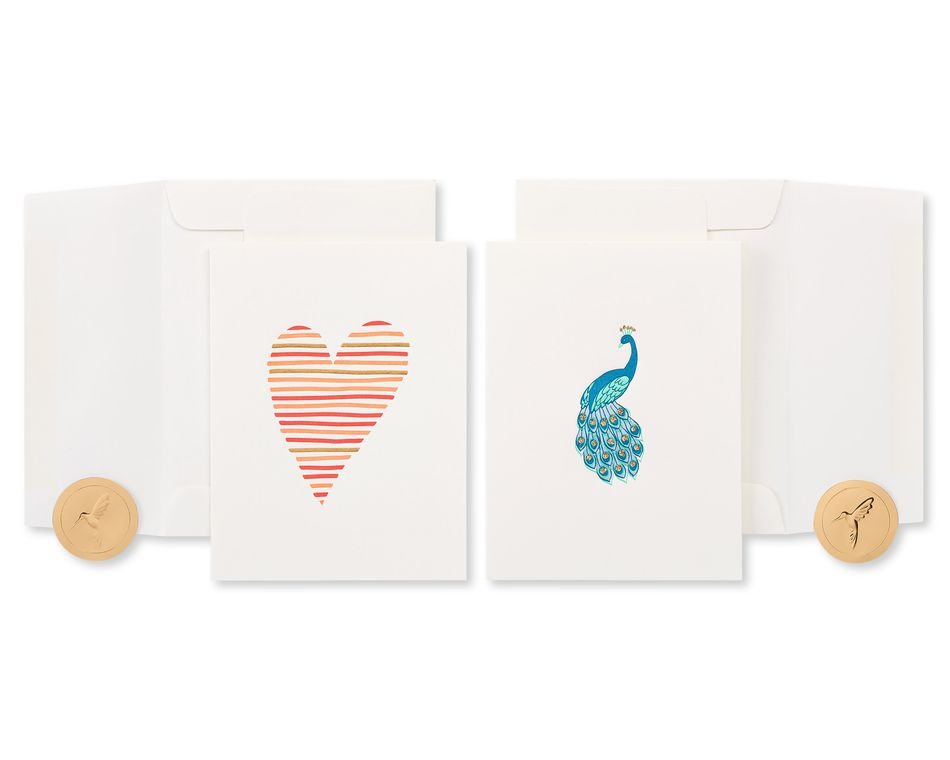 Heart and Peacock Blank Greeting Card Bundle, 2-Count