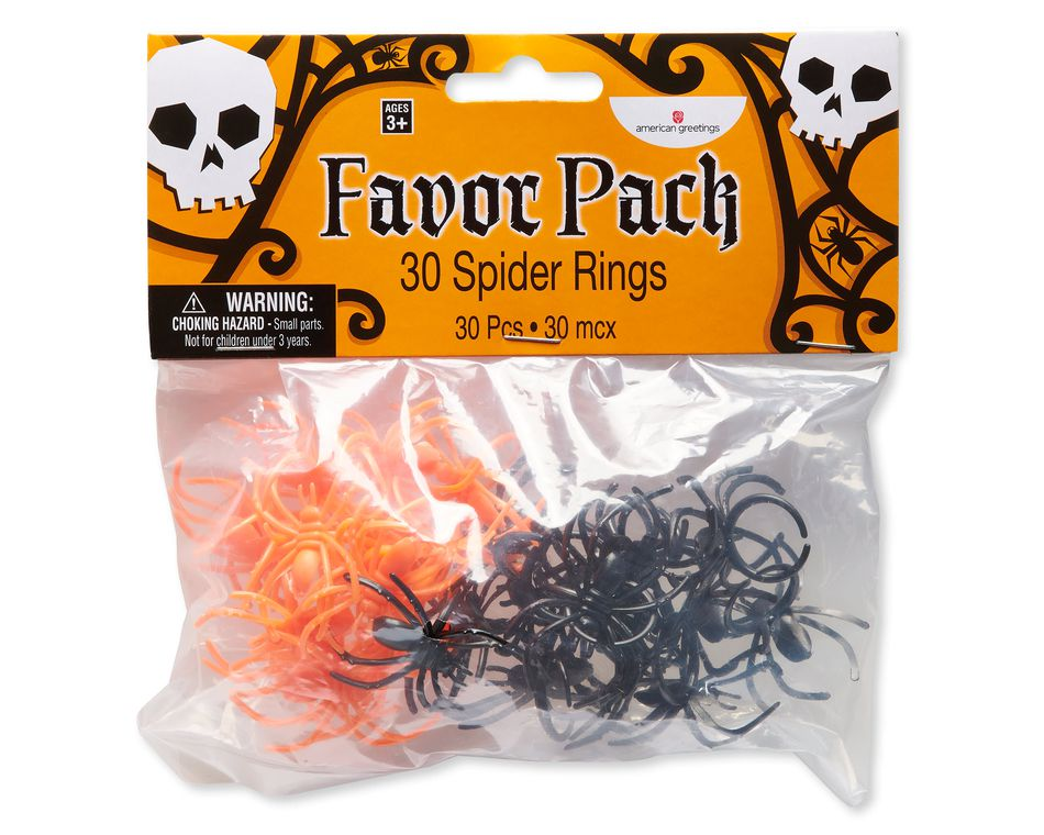 Orange and Black Spider Rings, 30-Count