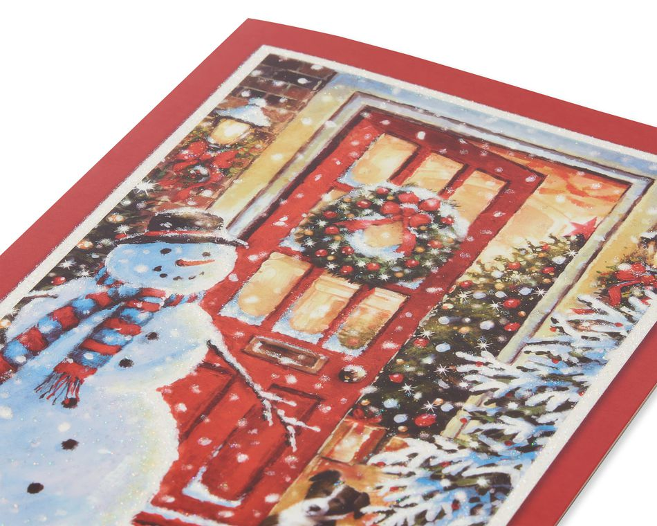 Snowman Outside Front Door Christmas Boxed Cards, 14 Count