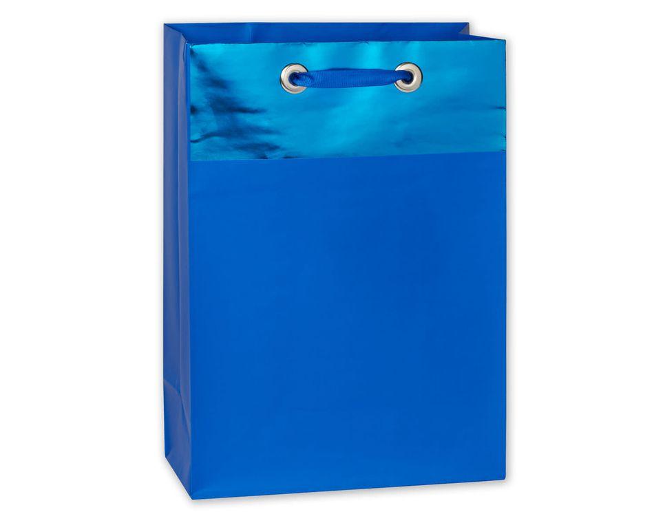 medium blue metallic gift bag