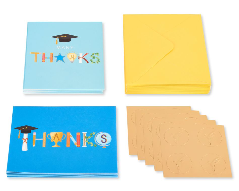 Graduation Icons Blank Note Cards with Envelopes, 20-Count