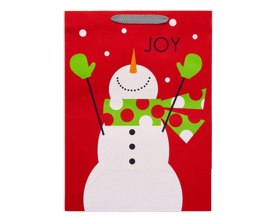 jumbo joyful snowman christmas gift bag
