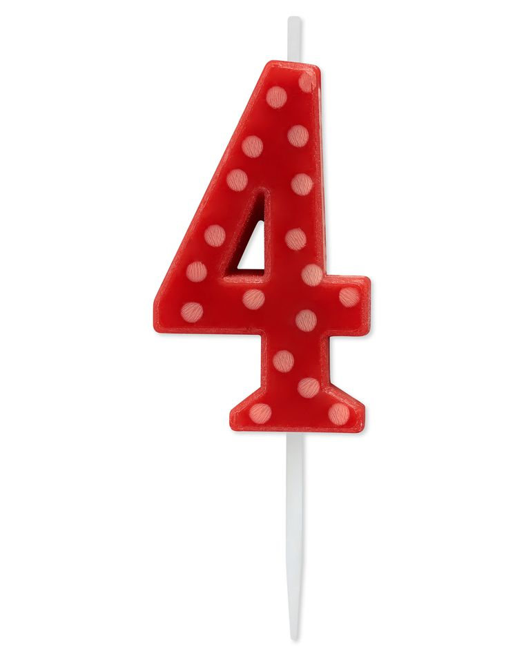 Red Polka Dots Number 4 Birthday Candle, 1-Count