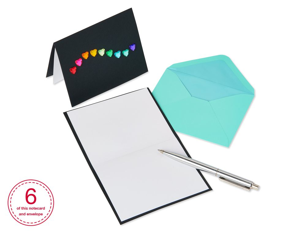 Rainbow Gems Boxed Blank Note Cards with Envelopes, 6-Count