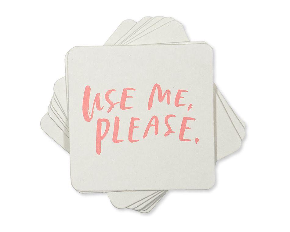 use me, please coasters (set of 8)