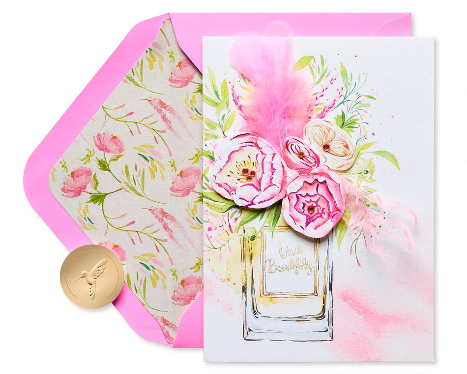 Perfume Florals Blank Greeting Card