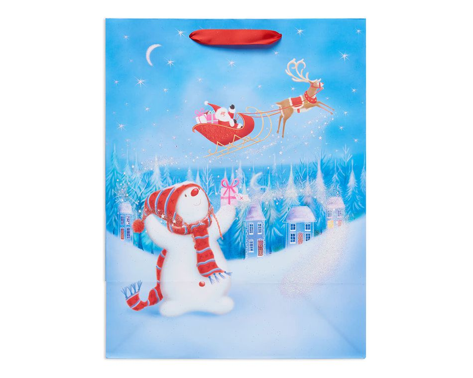 medium snowman and santa's sleight christmas gift bag