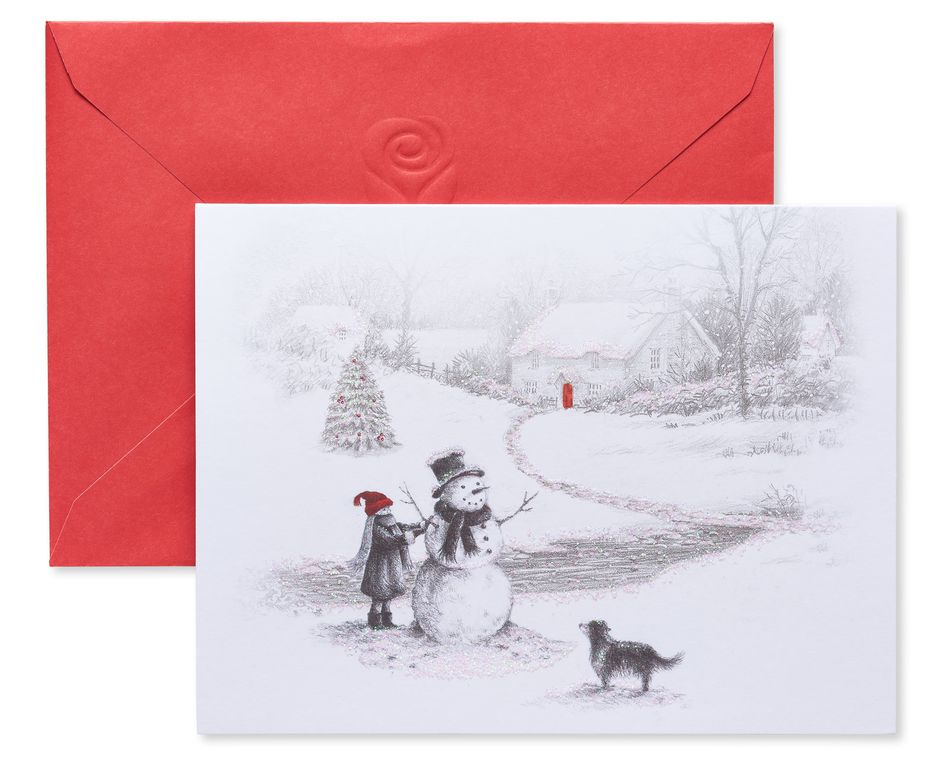 Child Building Snowman Christmas Blank Note Cards, 25 Count