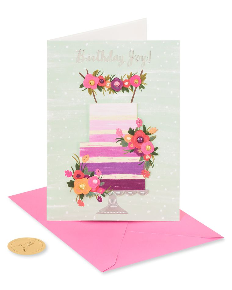 Purple Ombre Floral Cake Birthday Greeting Card